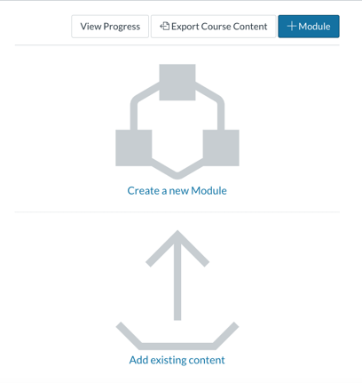 The option to create a new module will be in the center of the course homepage